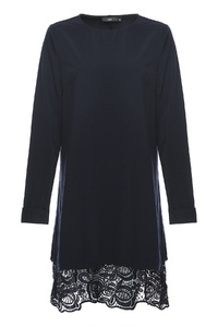 Navy Lace Panel Top