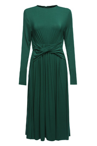 Emerald Front-Tie Midi Dress